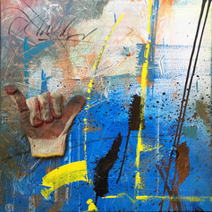 Yellow - mixed media on canvas - 24 x 24 in.