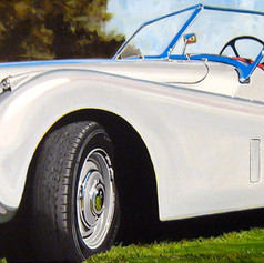 Bill's Jag 120 - acrylic on canvas - 12 x 36 in.