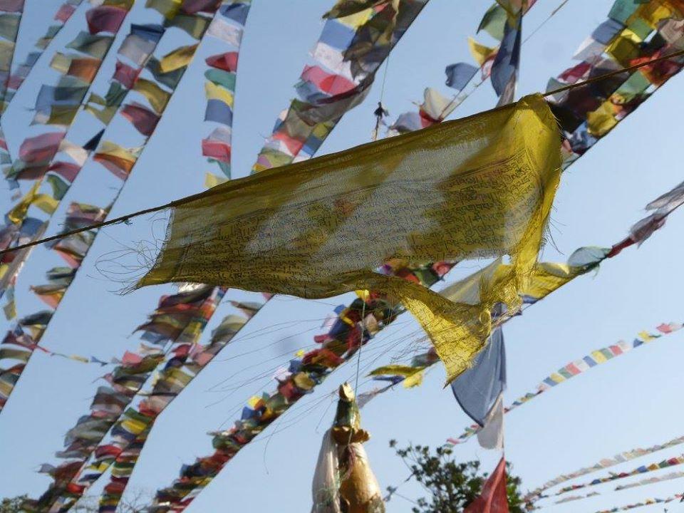 drapeaux à Thorang La 5416m