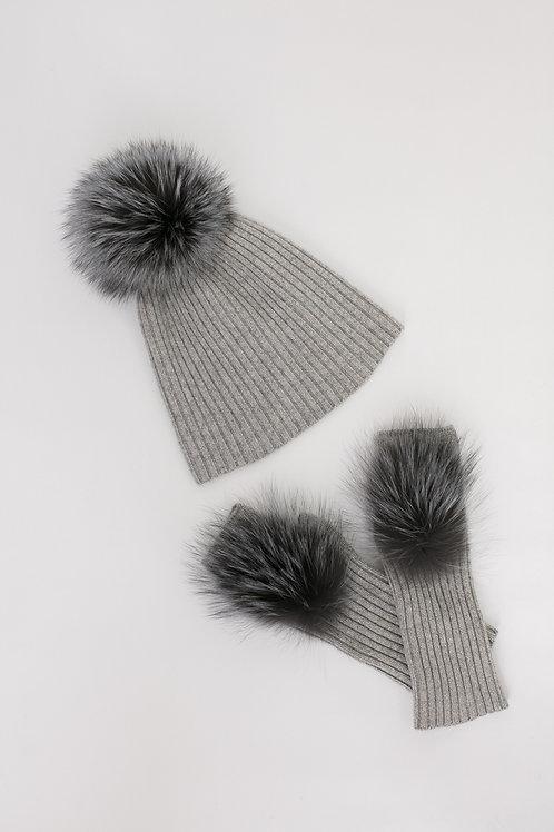 Комплект шапка+митенки