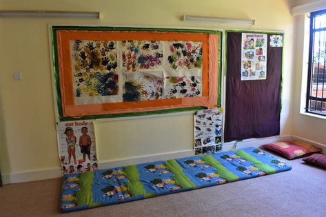 We use colourful playmats for the children