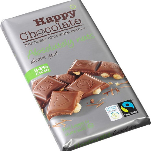 Milk chocolate with 34% cocoa and hazelnuts, Organic and Fairtrade, 180g