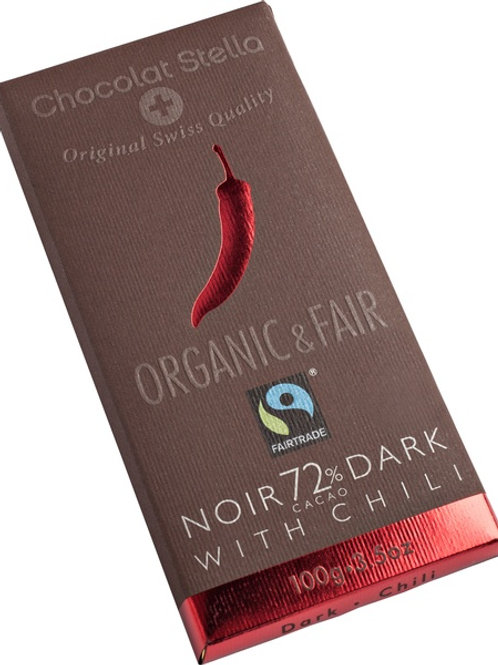 Dark chocolate with 72% cocoa with Chili, Organic and Fairtrade, 100g
