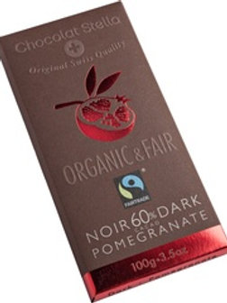 Dark chocolate with 60% cocoa with Pomegranate, Organic and Fairtrade, 100g