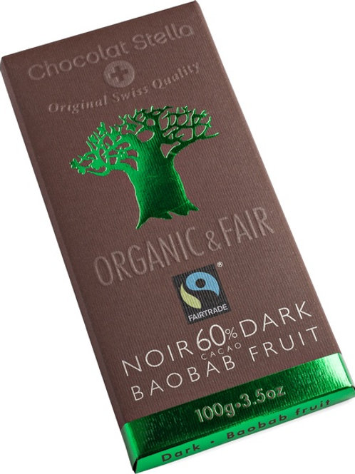 Dark chocolate with 60% cocoa with Baobab fruit, Organic and Fairtrade, 100g