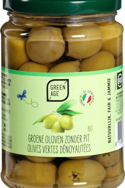 Organic Green Olive pitted in brine 280g