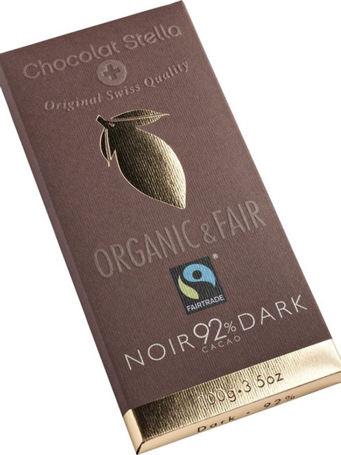 Dark chocolate with 92% cocoa, Organic and Fairtrade, 100g