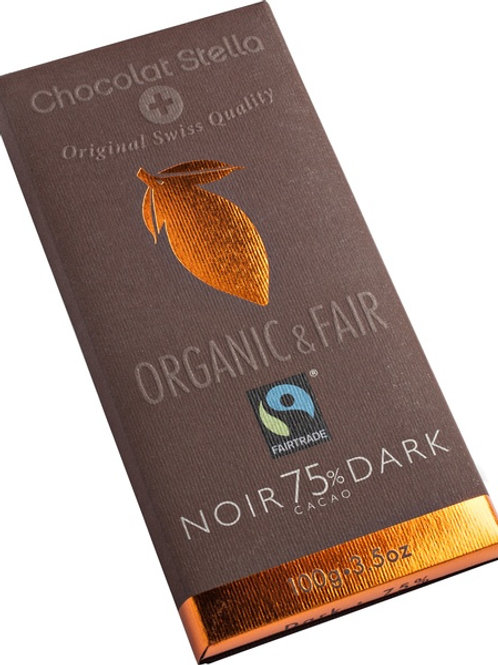 Dark chocolate with 75% cocoa, Organic and Fairtrade, 100g