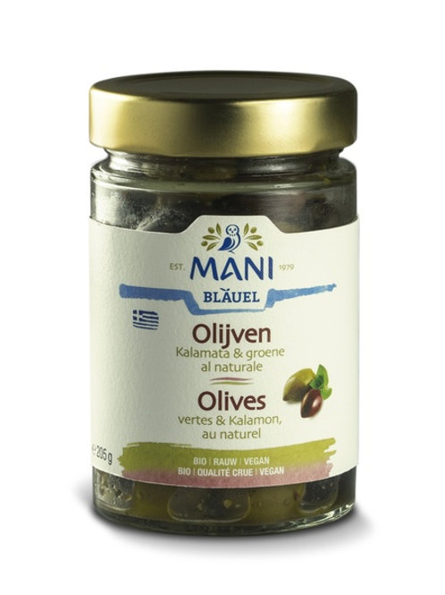 Organic Kalamata and Green olives, with pits,  in Extra Virgin Olive Oil, 205g