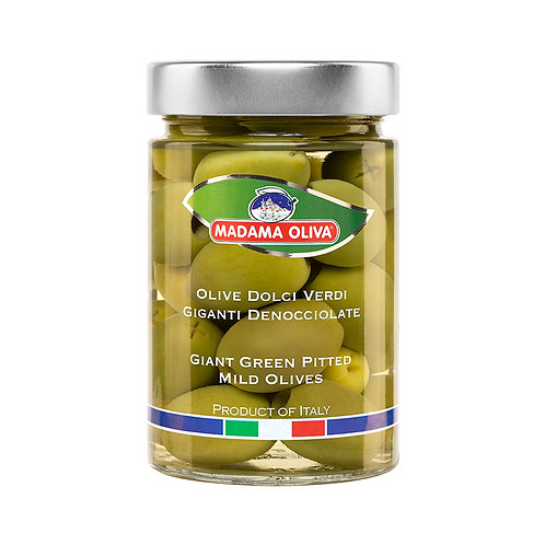 Giant Green pitted mild olives in Brine, 300g