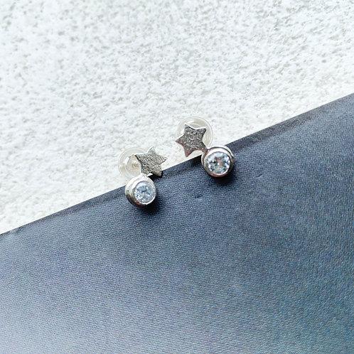 Boucles d'oreilles° en argent mini étoiles pierres brillantes