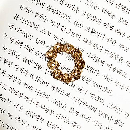Bague°rose chaîne doré