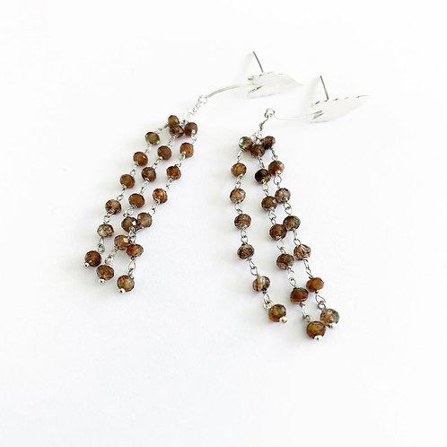 Boucles d'oreilles en argent andalusite°Saul pleureur brown alocasia