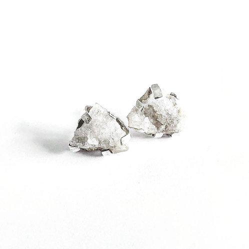 Boucles d'oreilles en argent°Coton fleur en sucre neige geode quartz