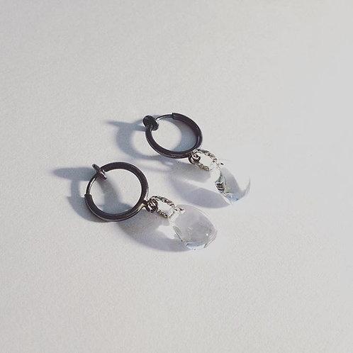 Boucles d'oreilles en argent°Goutte de cristaux gothique