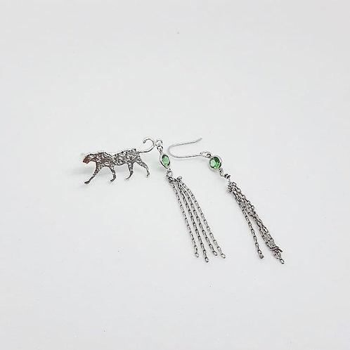 Boucles d'oreilles en argent°Slow walking leopard green
