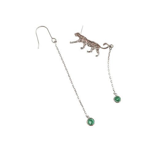 Boucles d'oreilles en argent°slow walking green unbalance