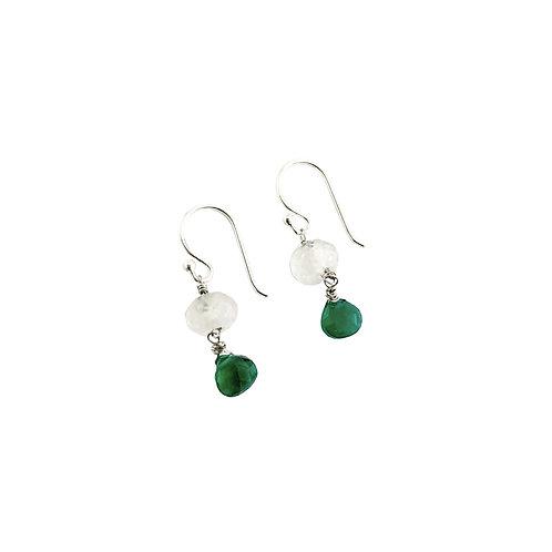 Boucles d'oreilles en argent°green onyx milki jade
