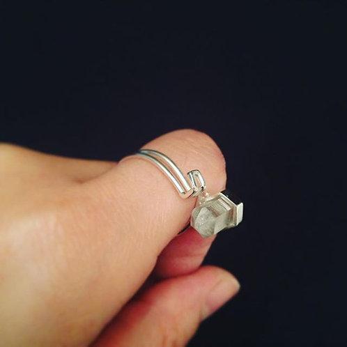 Goutte d'eau glacée_Bague quartz diamant