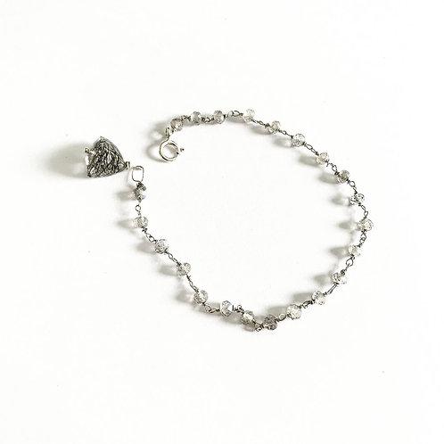 Paradis stones Labradorite & black rutile quartz bracelet