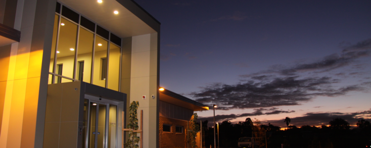 The Hills Clinic entry by dusk