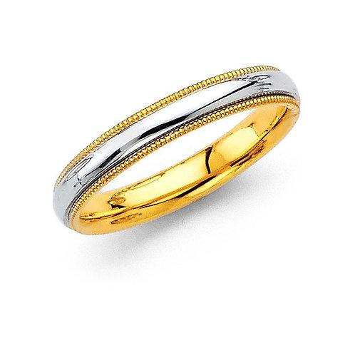 14k Two-tone Gold Ladies 3.2-mm Milligrain Comfort-Fit Wedding Band