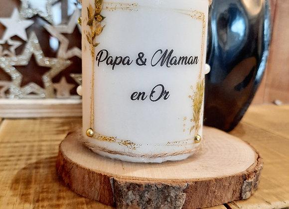 """Bougie """" Papa & Maman en or """""""