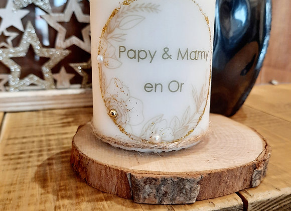 """Bougie """" Papy & Mamy en or """""""