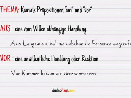 """Kausale Präpositionen """"aus"""" und """"vor"""""""