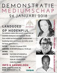 Demonstratie mediumschap pastorie Op Hodenpijl met Lisette Lucas, Frank Osinga en Jan Jacob Staathof