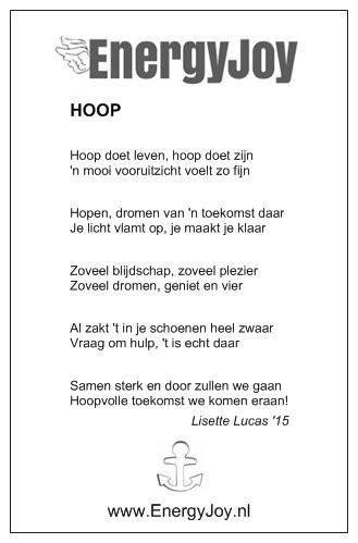 """Het gedicht van 11 maart met het thema """"Hoop"""""""