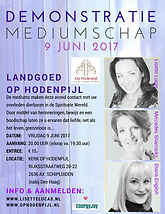 Demonstratie mediumschap in de kerk van landgoed Op Hodenpijl met mediums Lisette Lucas, Mercedes Sharrocks en Diana English