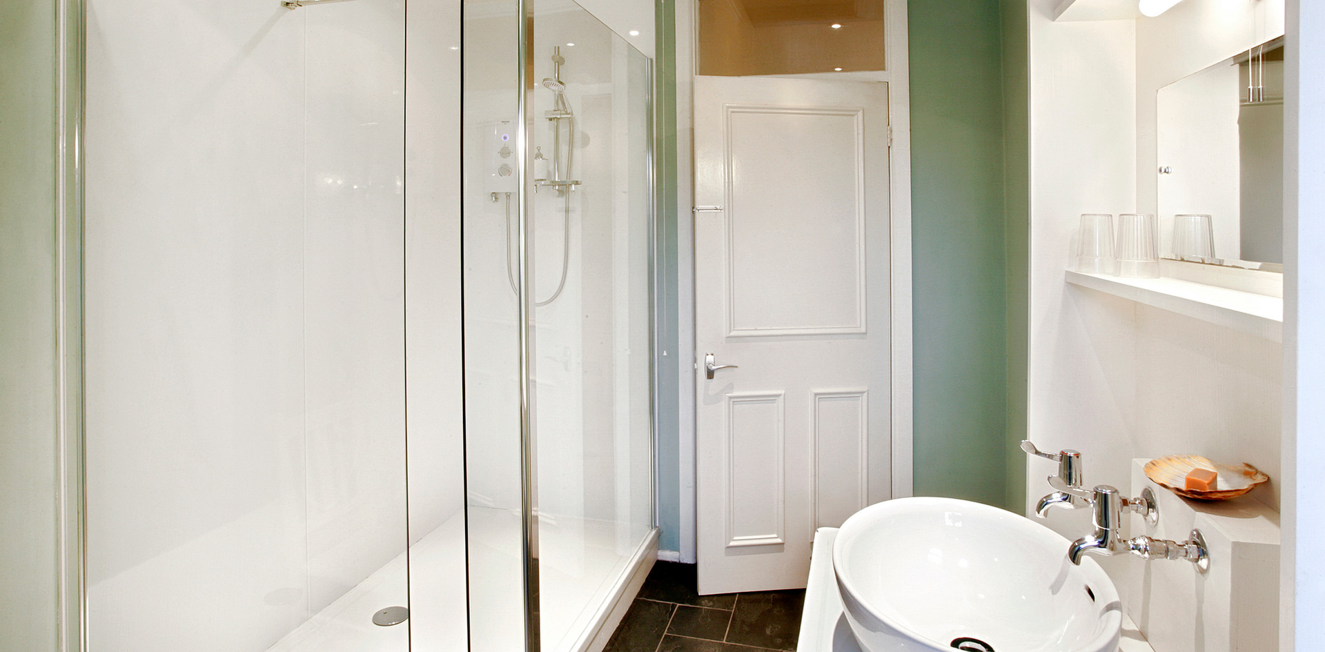 Family shower room/WC in Talton House west wing