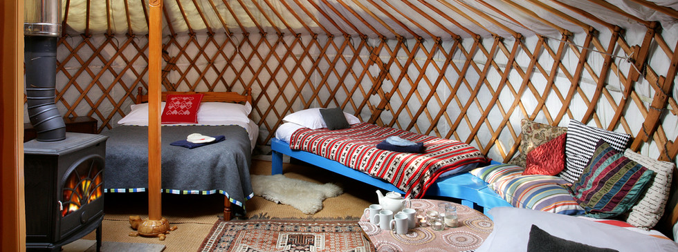 Inside the big yurt