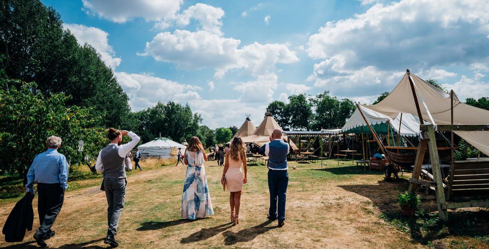 Entering the walled garden festival venue