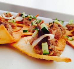 Tortilla yum canapé