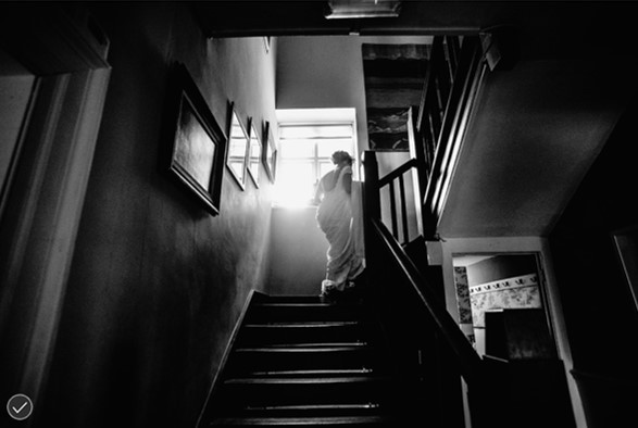 Bride on Talton House stairs