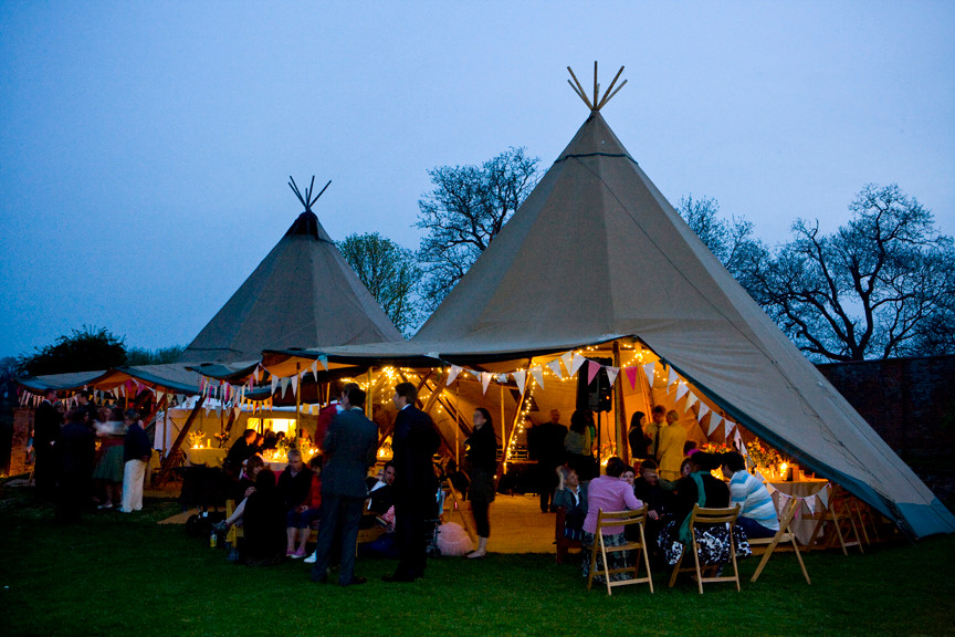 Giant tipis by night