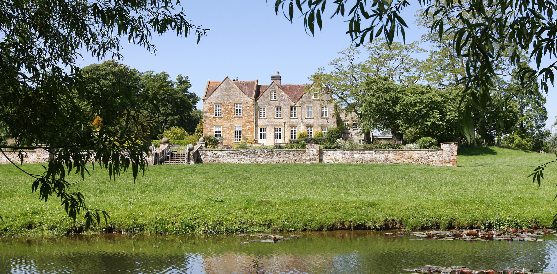 Talton House lily pond in front of Manor House