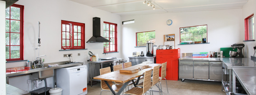 Inside the red and green kitchen
