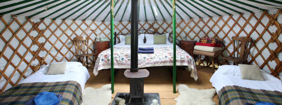 Inside small yurt
