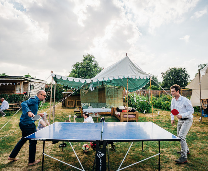 table tennis in front of Indian Pavilion