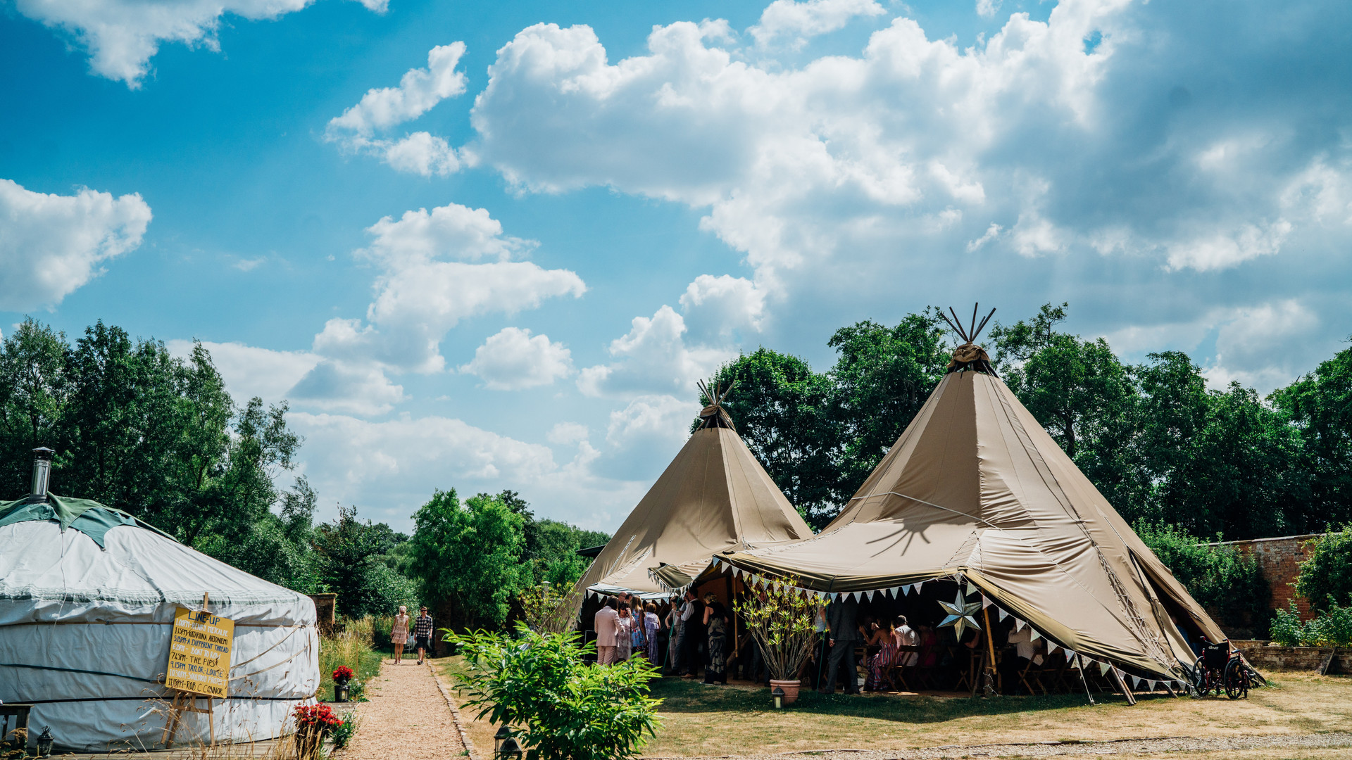 Tipis with diners inside