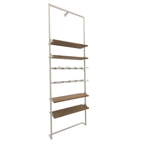 FeelFree a parete, composizione standar (4 ripiani+2 barre accessorio)