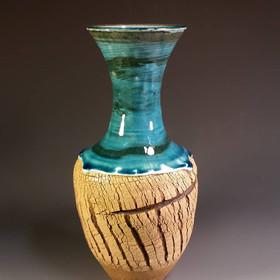 Blue Tree Bark Vase