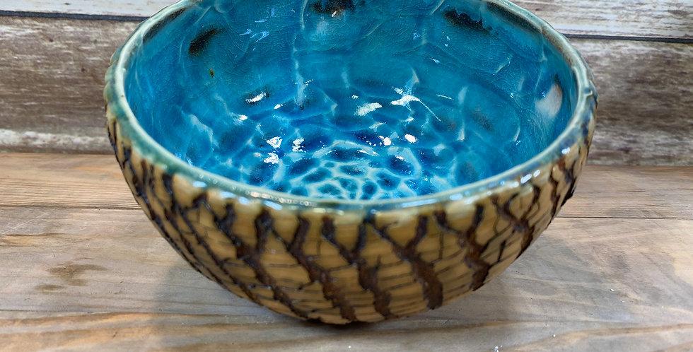Turquoise Tree Bark Bowl 07
