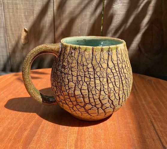 Turquoise Tree Bark Mug 020