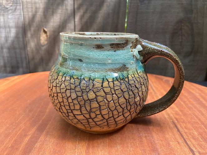 Turquoise Tree Bark Mug 014