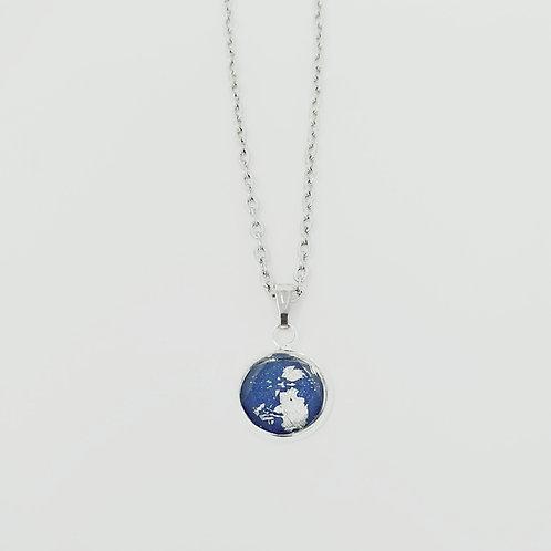 Blue Silver Leaf in Antique Silver Cabochon Pendant Necklace