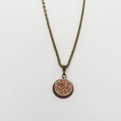 Rose Matte Faux Druzy in Antique Bronze Cabochon Pendant Necklace